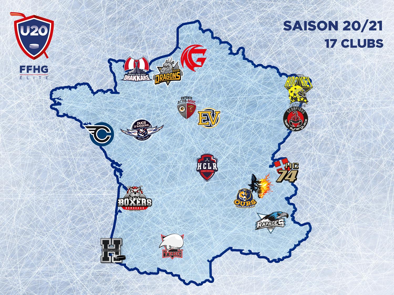 Carte de France du championnat U20 Élite