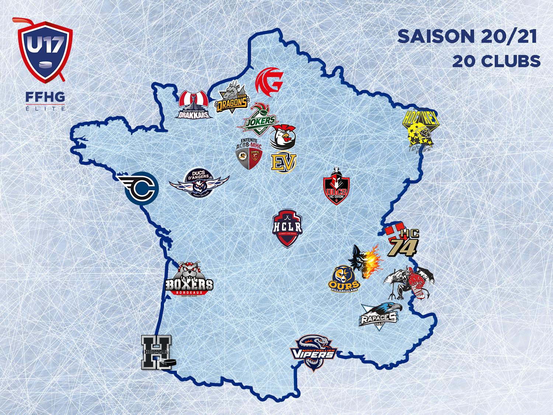 Carte de France du Championnat U17 Élite